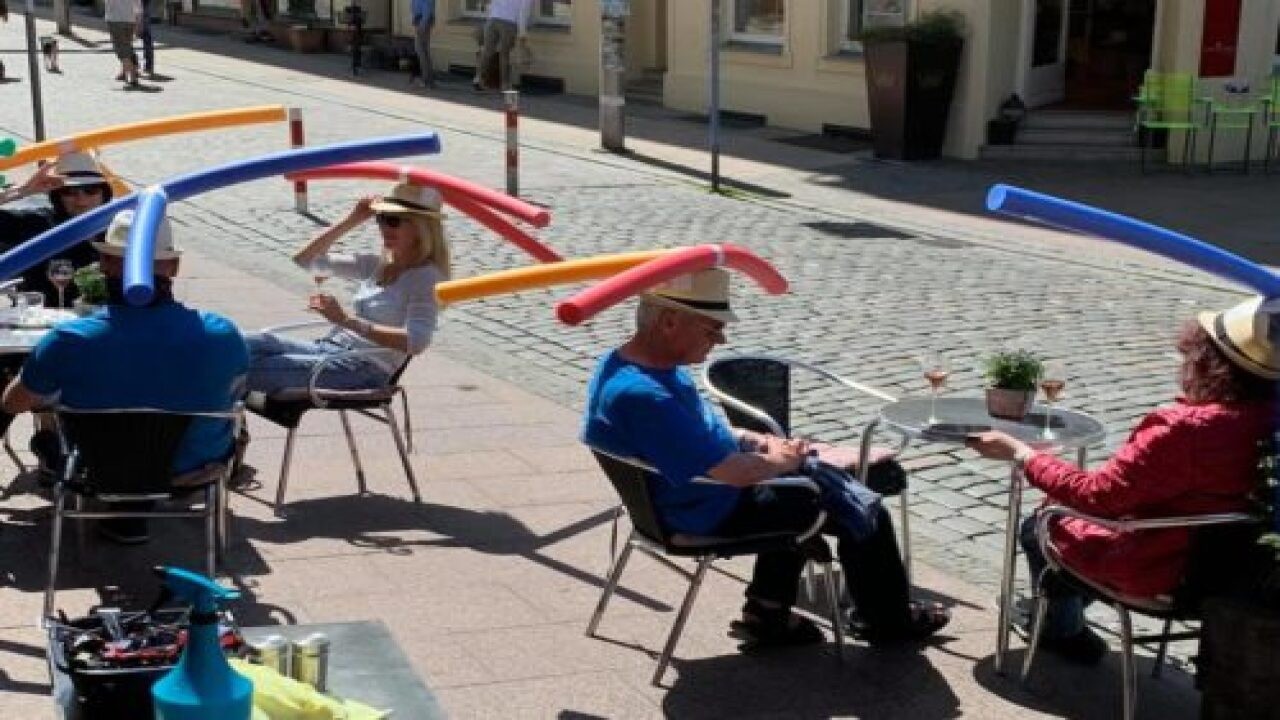 A Cafe Is Creatively Using Pool Noodles To Keep Customers Socially Distanced