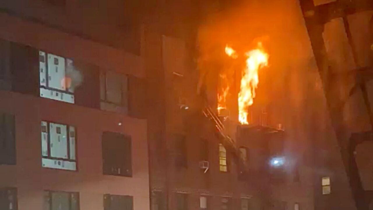 Flames shoot out window in Brooklyn apartment fire