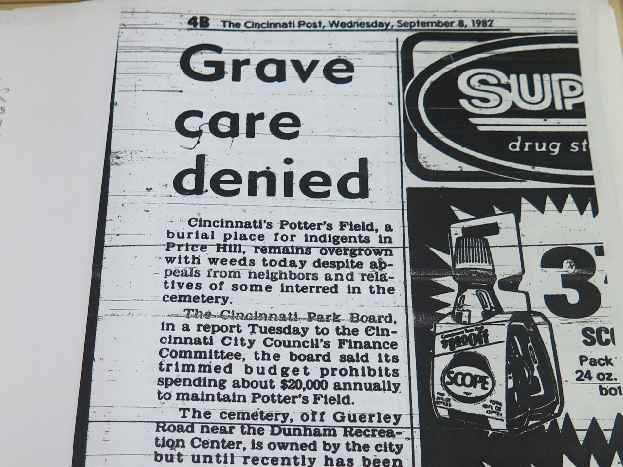 This copy of a Cincinnati Post newspaper story from 1982 discusses the lack of maintenance at Potter's Field. The headline for the article is: Grave care denied.