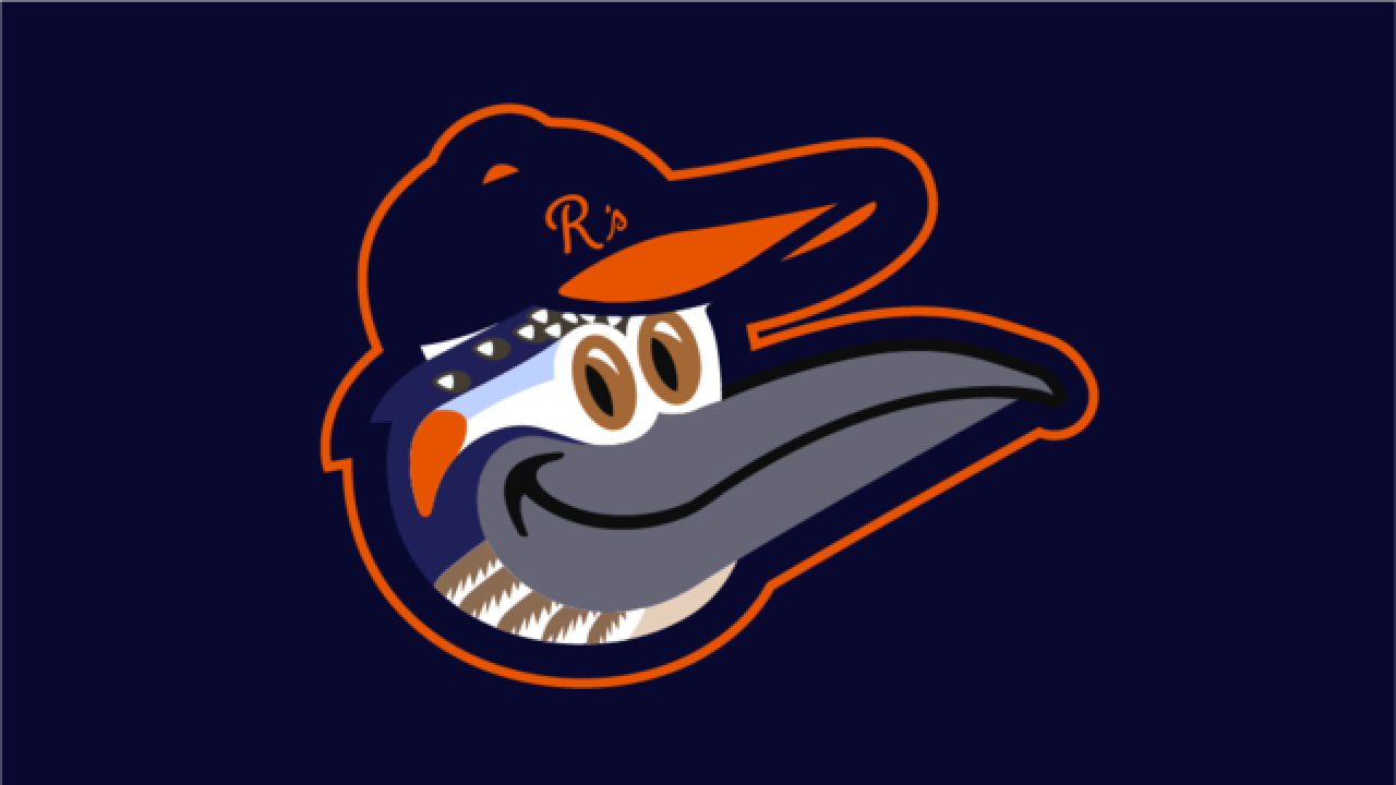 Graphic designer making art with Orioles logo