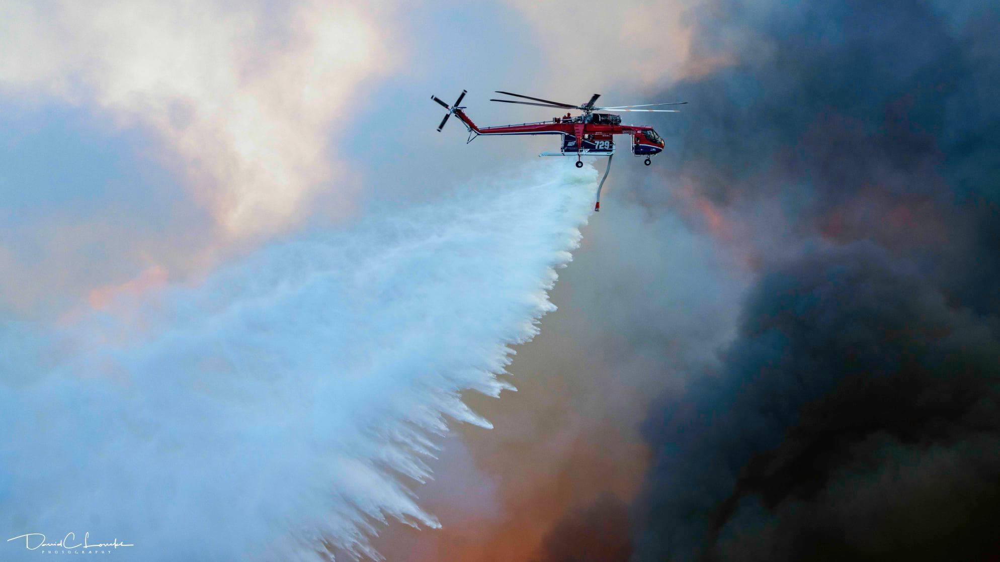 Fire crews drop water on Valley Fire