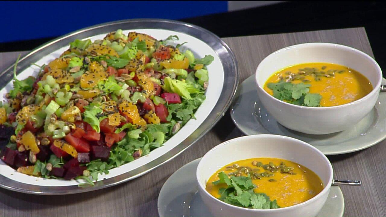 Anti-inflammatory soup with citrus beetsalad