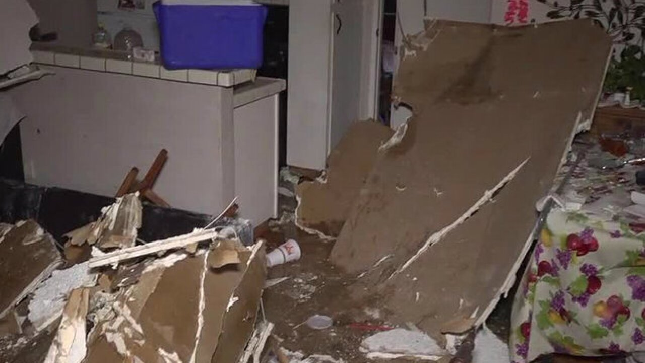 Clogged toilet to blame for ceiling collapse