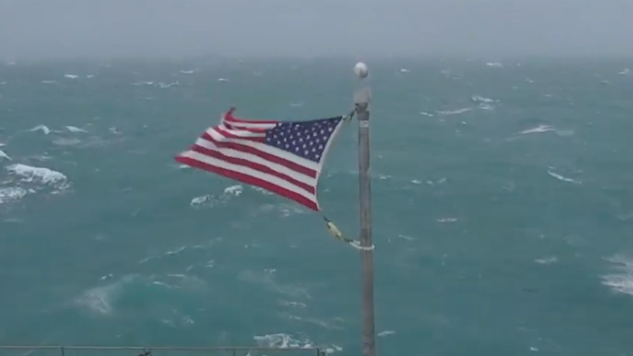 Watch: American flag flies off the coast of North Carolina during Hurricane Dorian