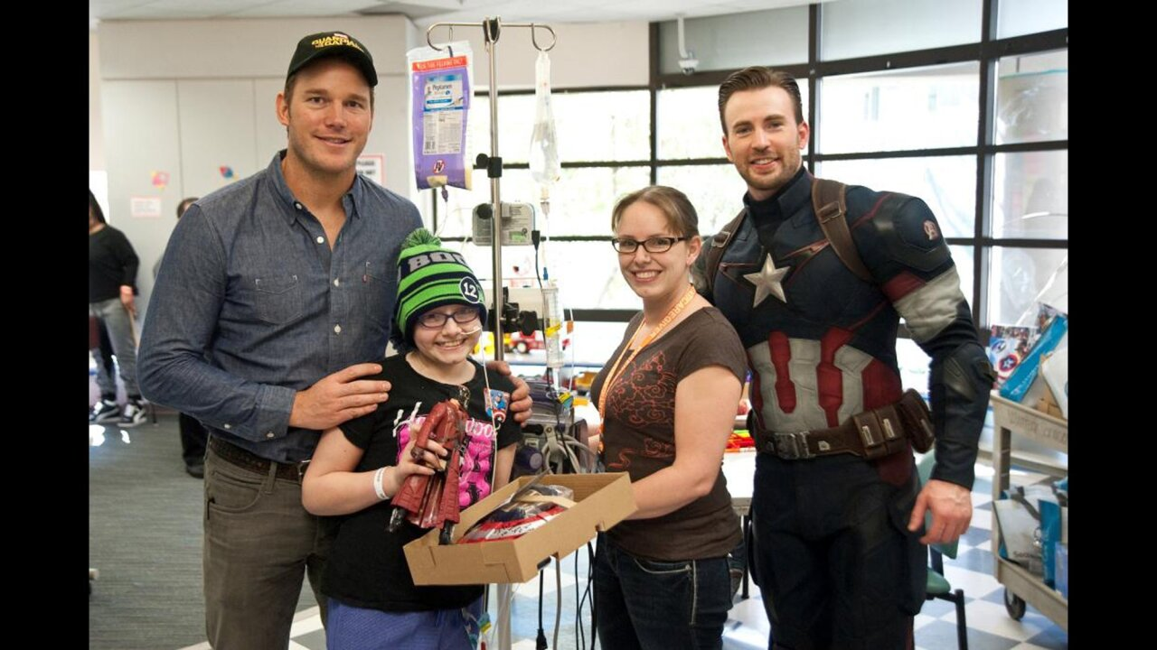 Chris Evans, Chris Pratt meet 'true superheroes' in hospital visit