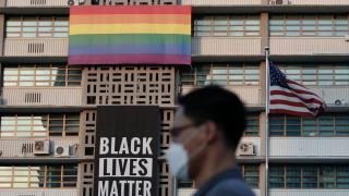 BLM, LGBTQ+ flags