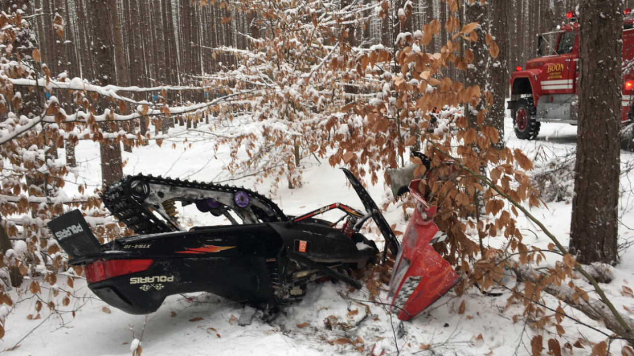 MSP provided picture of fatal snowmobile crash Jan 12 2020