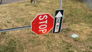 damaged stop sign