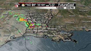 A few isolated showers/storms Tuesday afternoon