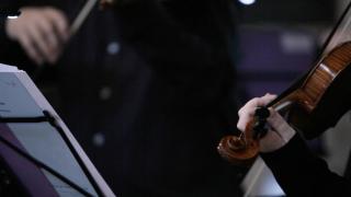 Violin musicians music stand