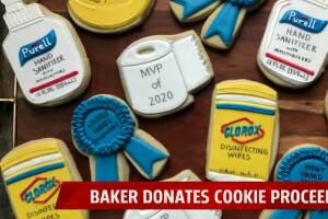 Bakeshop creates virus safety themed cookies for charities
