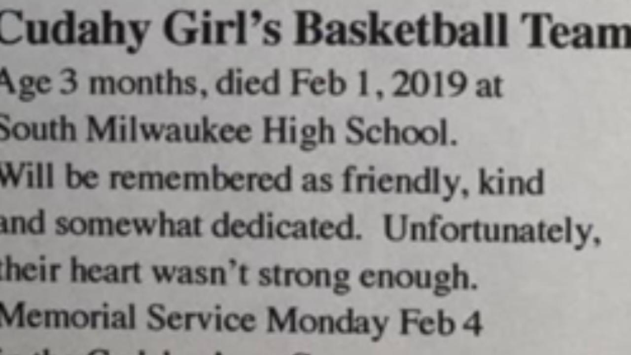 Cudahy girls mock obituary