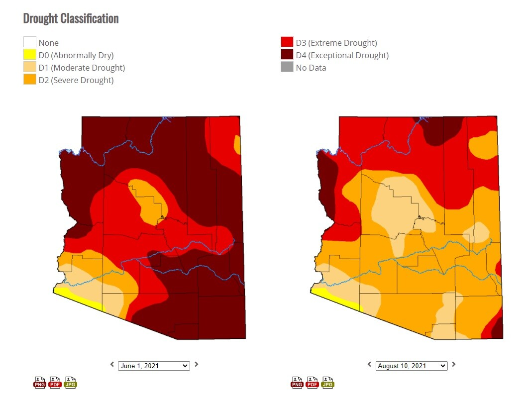 Comparing drought conditions in Arizona - June 1, 2021 to Aug. 10, 2021.