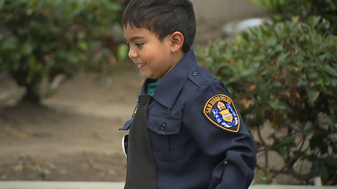 Young Make-A-Wish recipient sworn in as San Diego Police officer