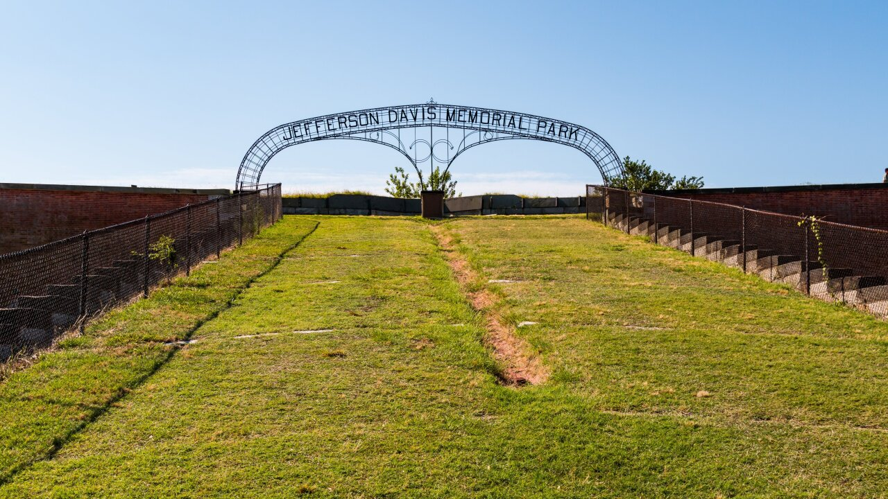 Confederate President Jefferson Davis' name removed from arch at Virginia's Fort Monroe