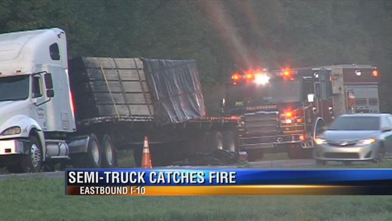 Semi-Truck Blows Tires and Catches Fire on I-10 Eastbound