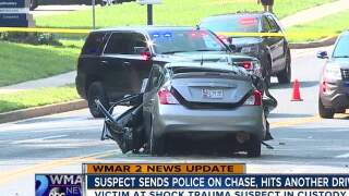 Suspect sends police on chase, hits another driver