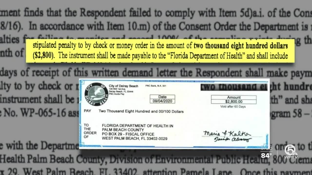 City of Delray Beach check to Florida Department of Health for $2,800