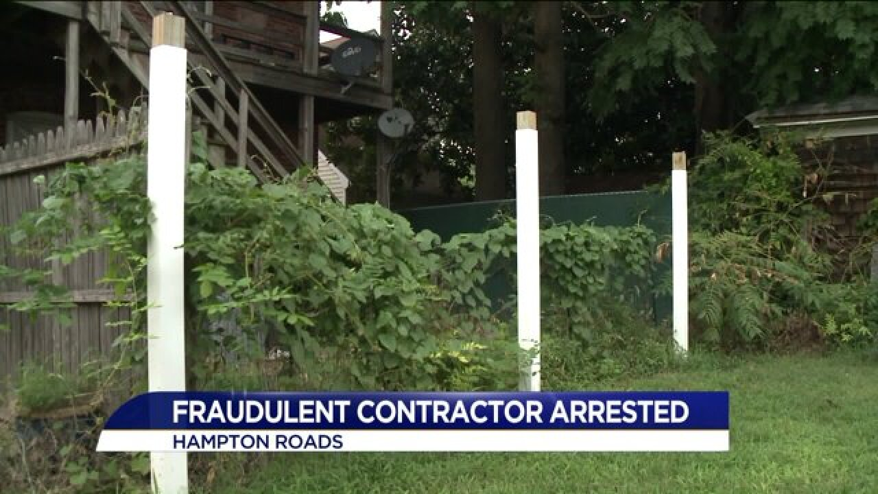 Virginia Beach contractor charged with construction fraud isarrested