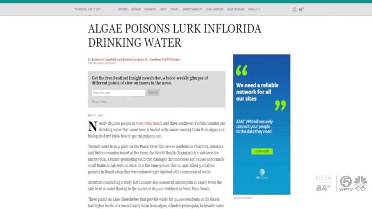 Orlando Sentinel story on algae in West Palm Beach water in 2001