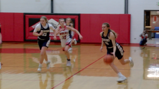 Dillon's Ainsley Shipman drives to the basket after a steal
