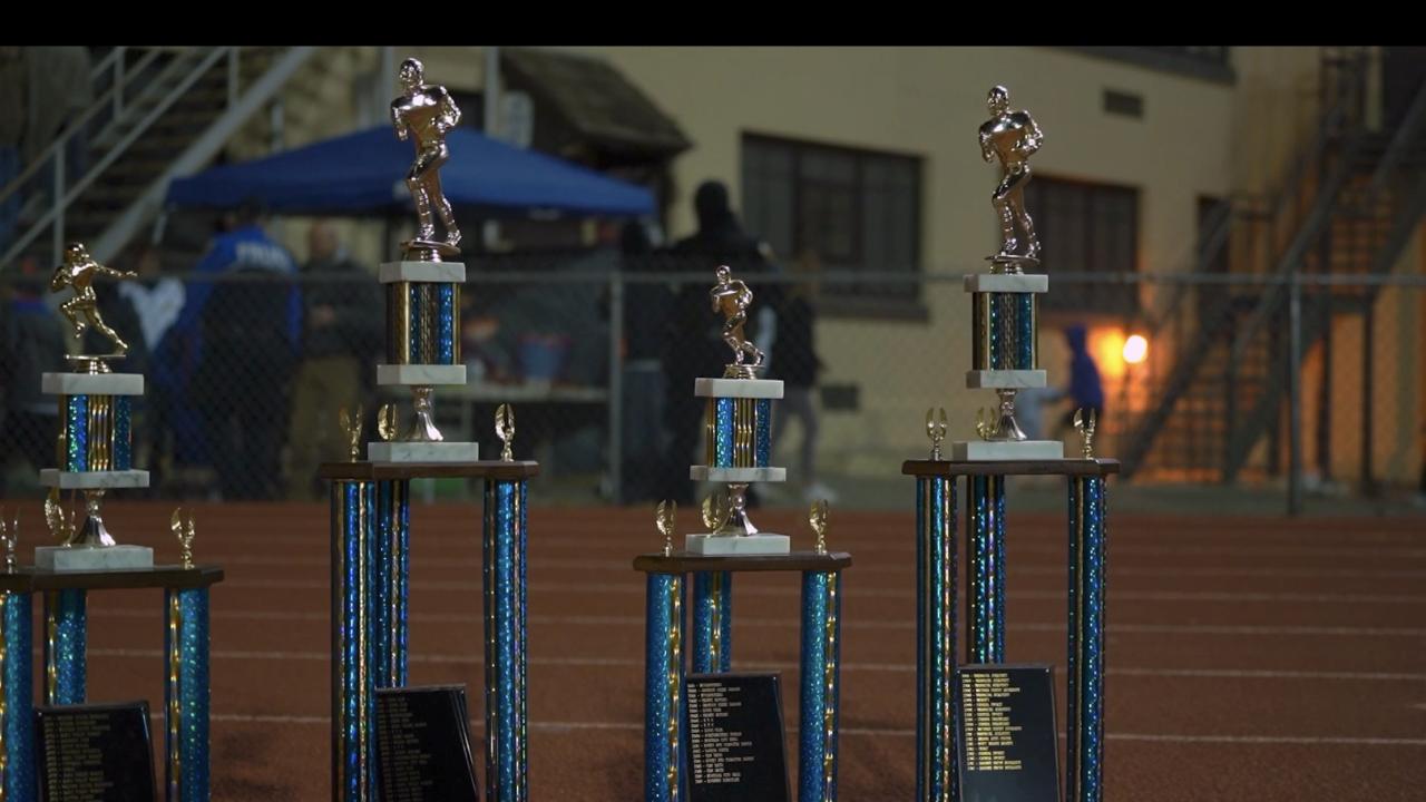 Helena Small Fry Football trophies