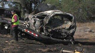 Crash, vehicle fire on SR-163 blocks lanes