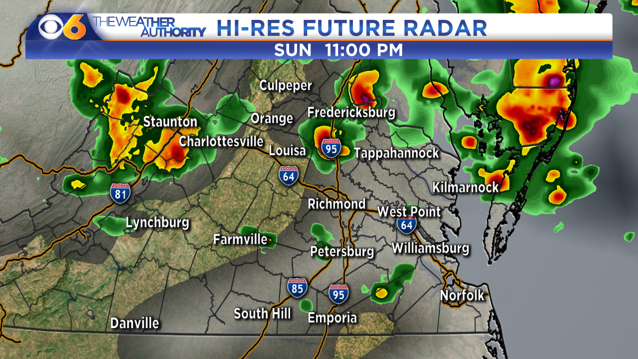 Hour-by-hour look at scattered strong storms possible into Sundaynight
