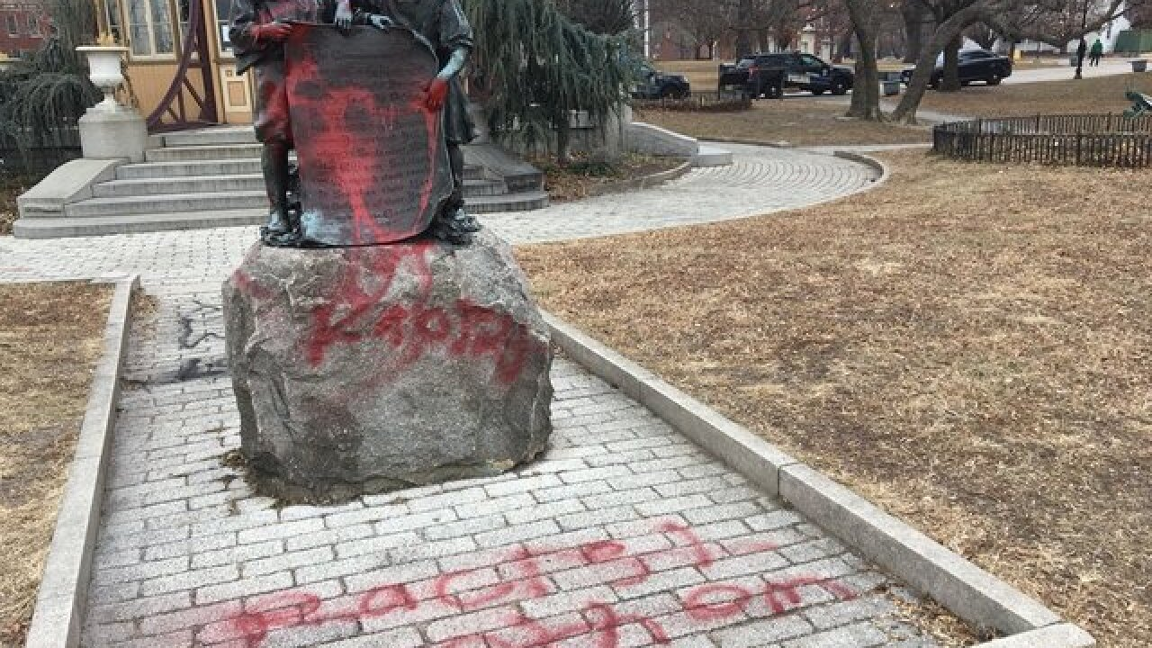 Anthem centennial monument defaced