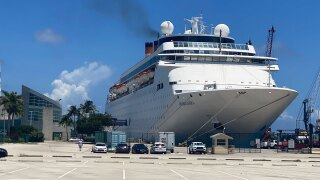 Grand Classica cruise ship docked at the Port of Palm Beach
