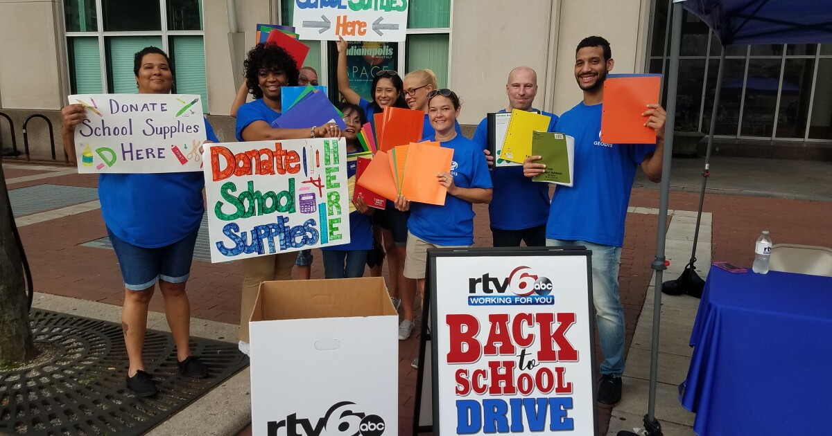 RTV6 is collecting school supplies at Monument Circle today