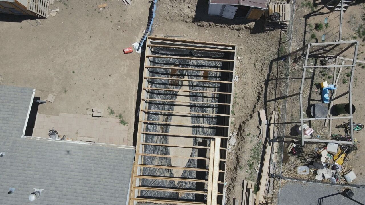 Drone photograph of the unfinished project