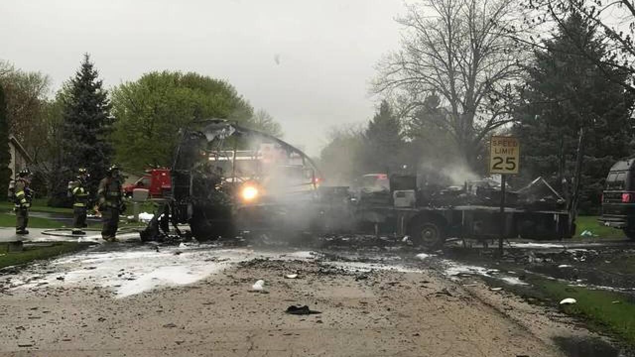 Caledonia fire crews battle RV, garage fire