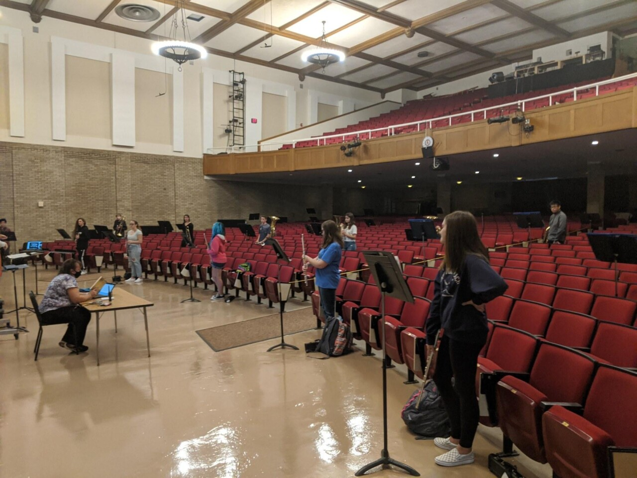 Amherst students have their own assigned, distanced spots