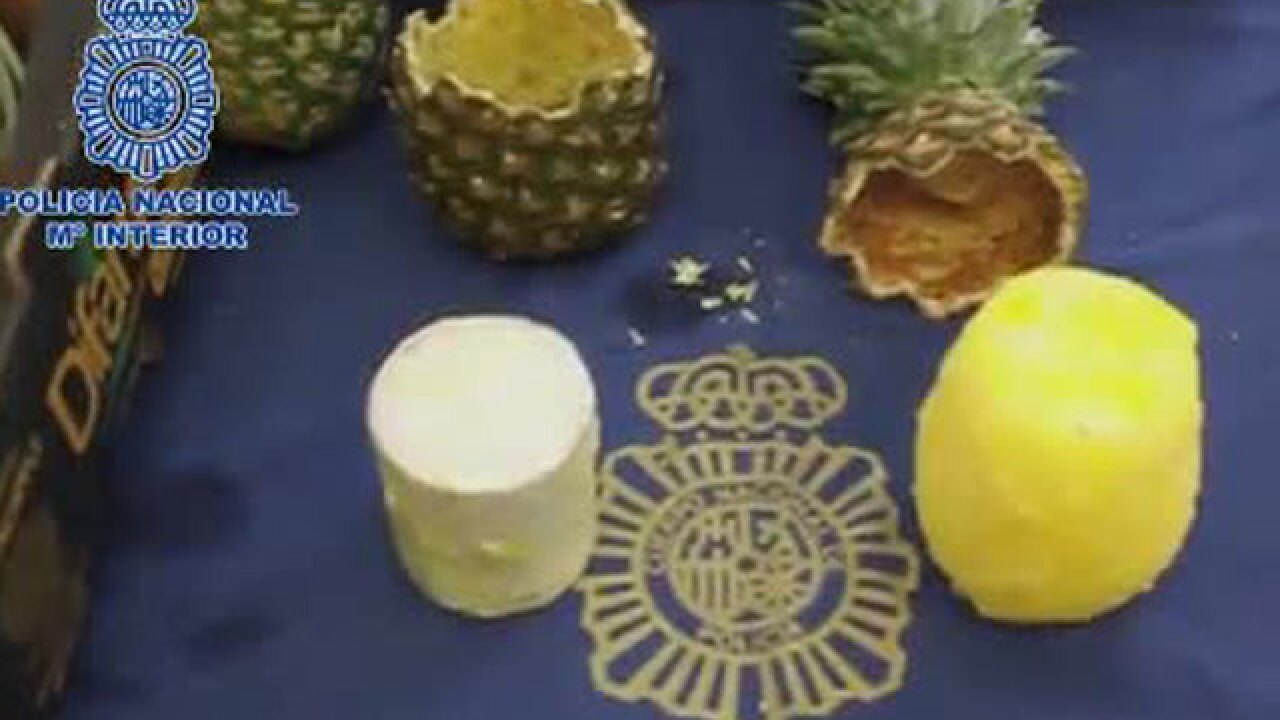 Spanish authorities seize cocaine hidden inside pineapples