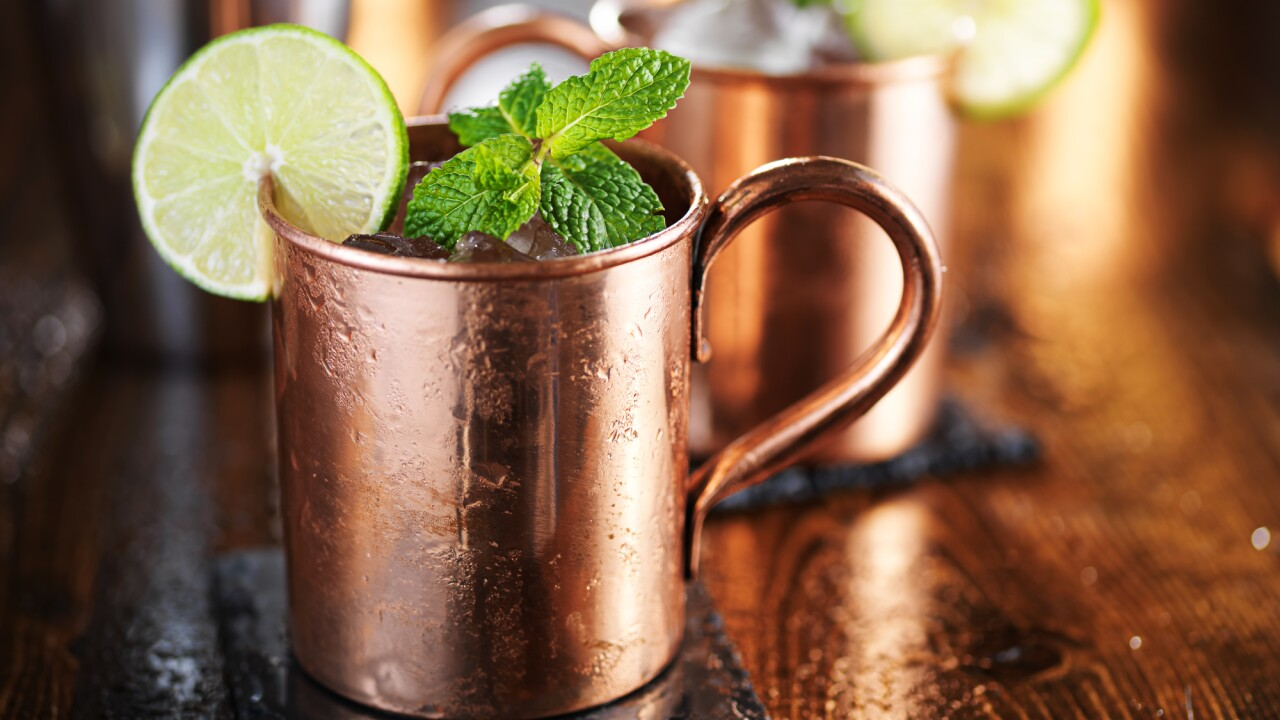 Drinking Moscow Mules from copper mugs could cause food poisoning