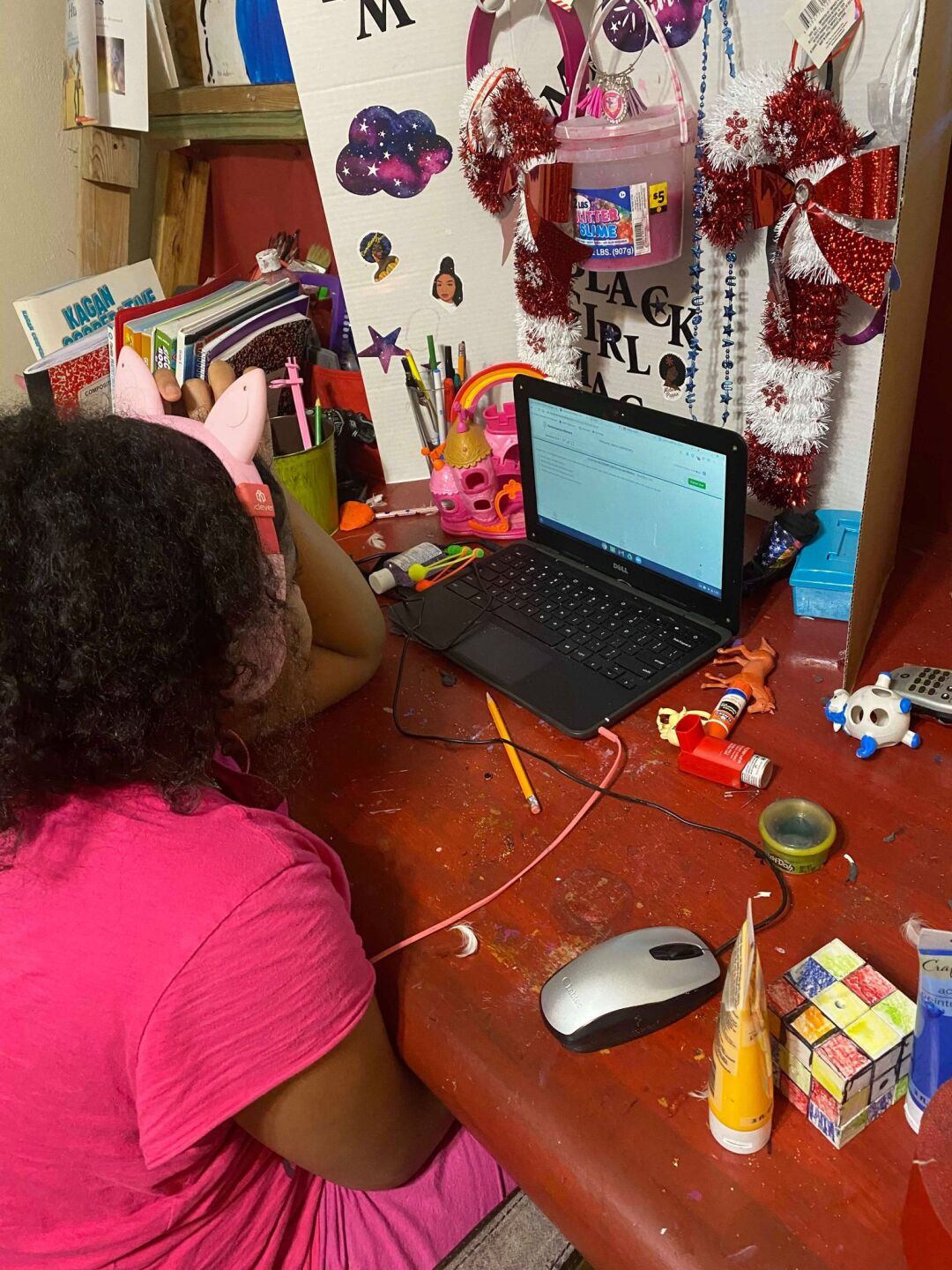 Rahmings says she's transformed her grandchildren's workspace into a learning center to help drive productivity.