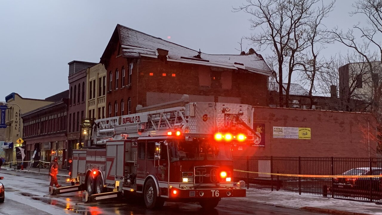 Police on scene of a partial building collapse in Buffalo