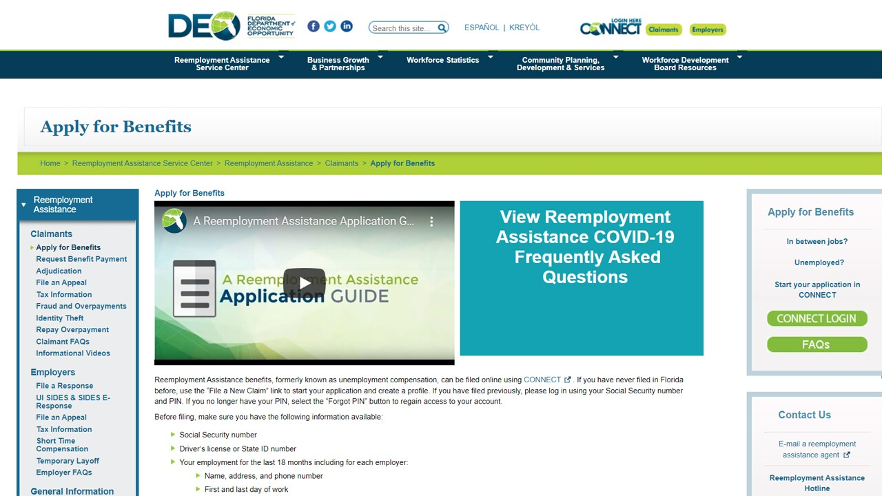 Florida Department of Economic Opportunity website