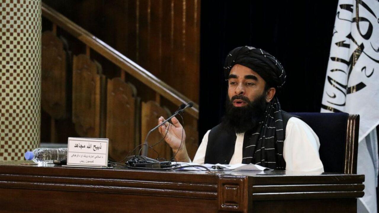 The Associated Press Taliban spokesman Zabihullah Mujahid speaks during a press conference in Kabul, Afghanistan Monday, Sept. 6, 2021.(AP Photo/Muhammad Farooq)
