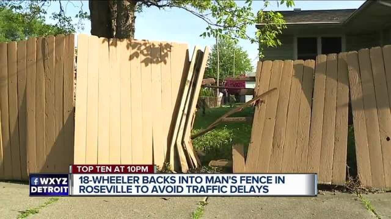 18-wheeler slams into Roseville man's fence