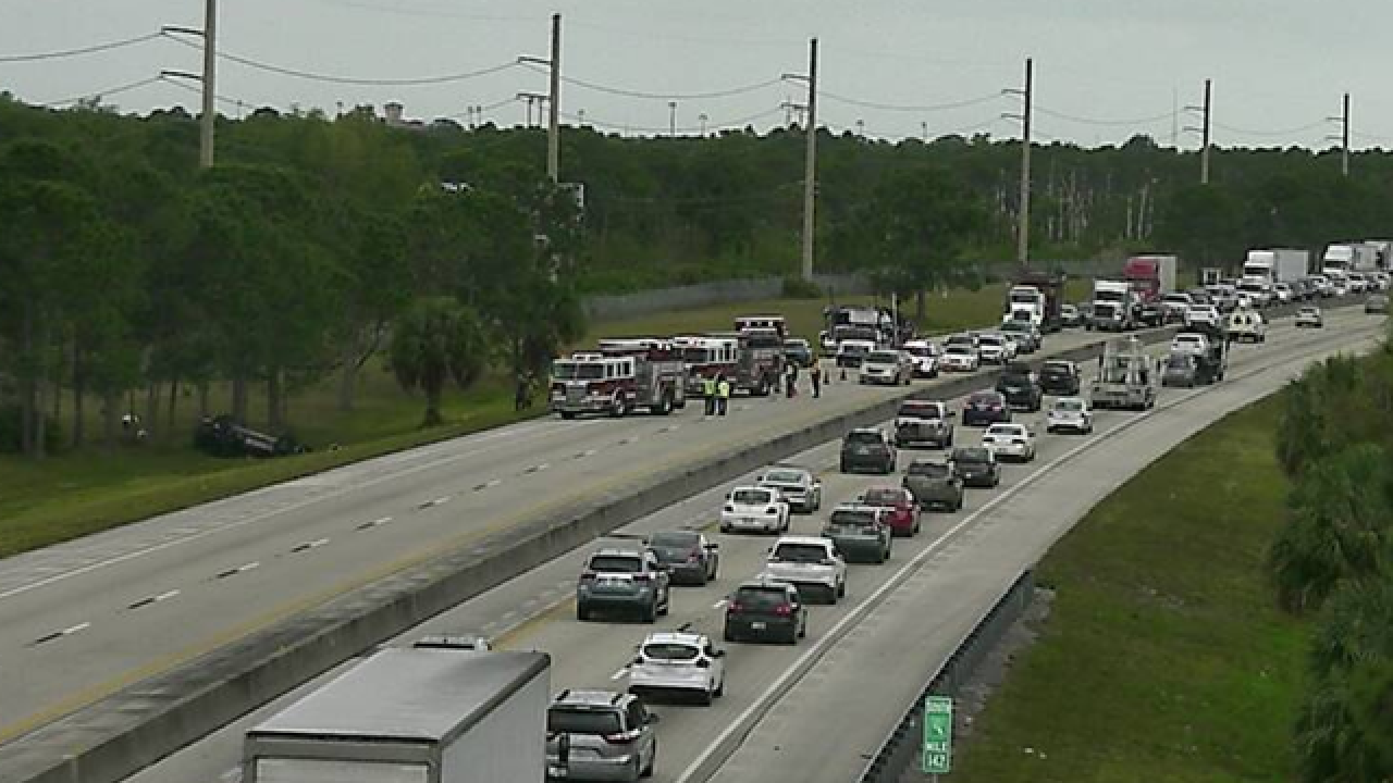 NB Turnpike lanes blocked before PSL Blvd.