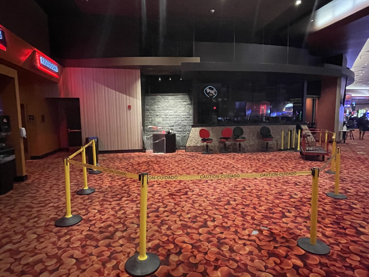 Temporary location to house initial sports wagering is towards the back of the gaming floor in front of the sports bar at Oneida Casino's Main-Airport location