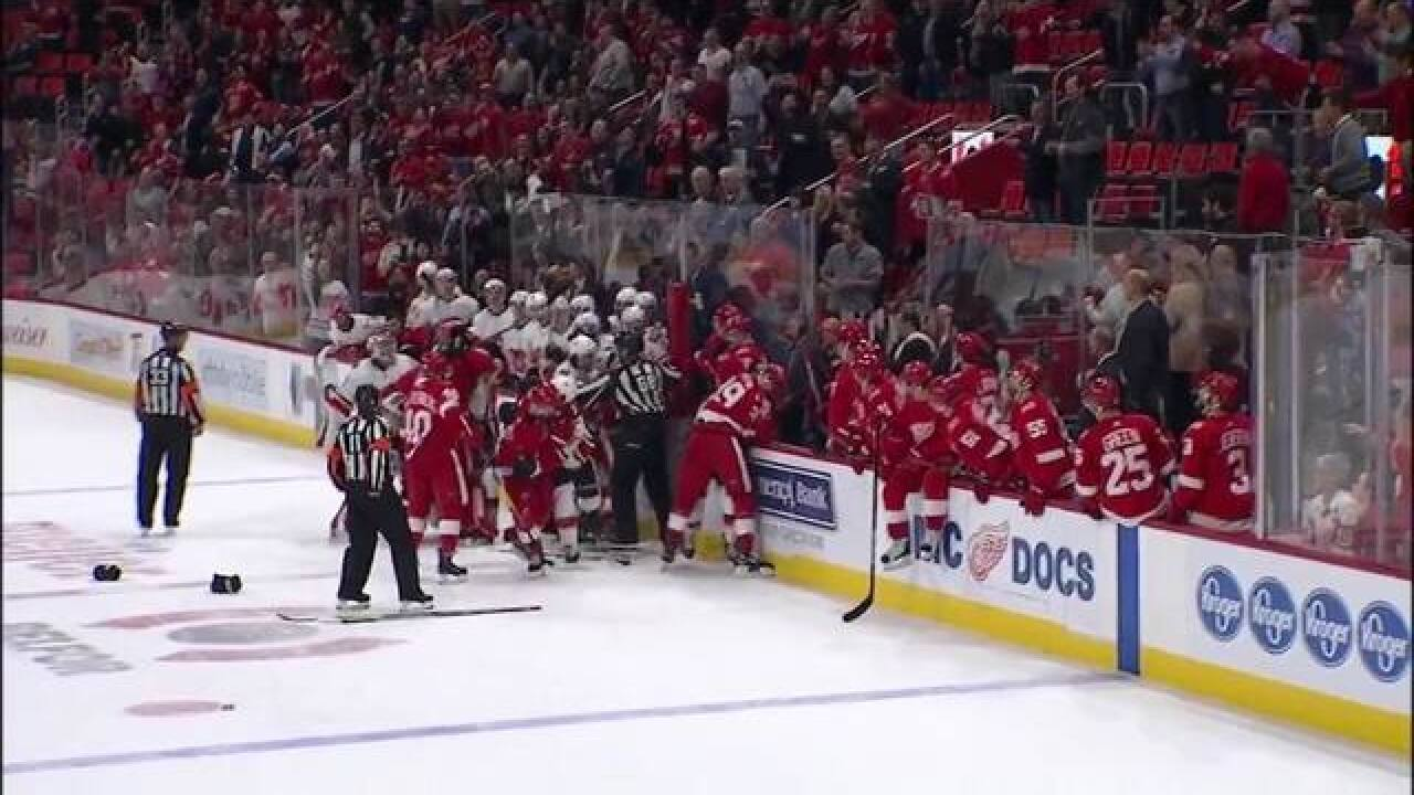 WATCH: Red Wings and Flames brawl in wild fight at Little Caesars Arena