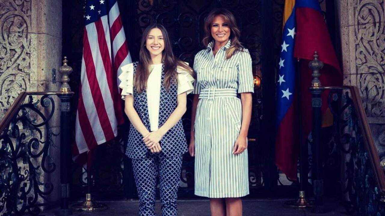 First Lady Melania Trump met with Fabiana Rosales, the wife of Venezuelan opposition leader Juan Guaido, at Mar-a-Lago on March 28, 2019.