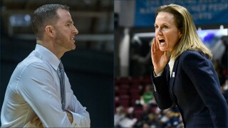 Montana State basketball coaches Danny Sprinkle and Tricia Binford