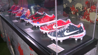 Custom cleats on display at interactive booth in Play Ball Park