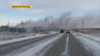 Old pencil factory burning near Browning (video)