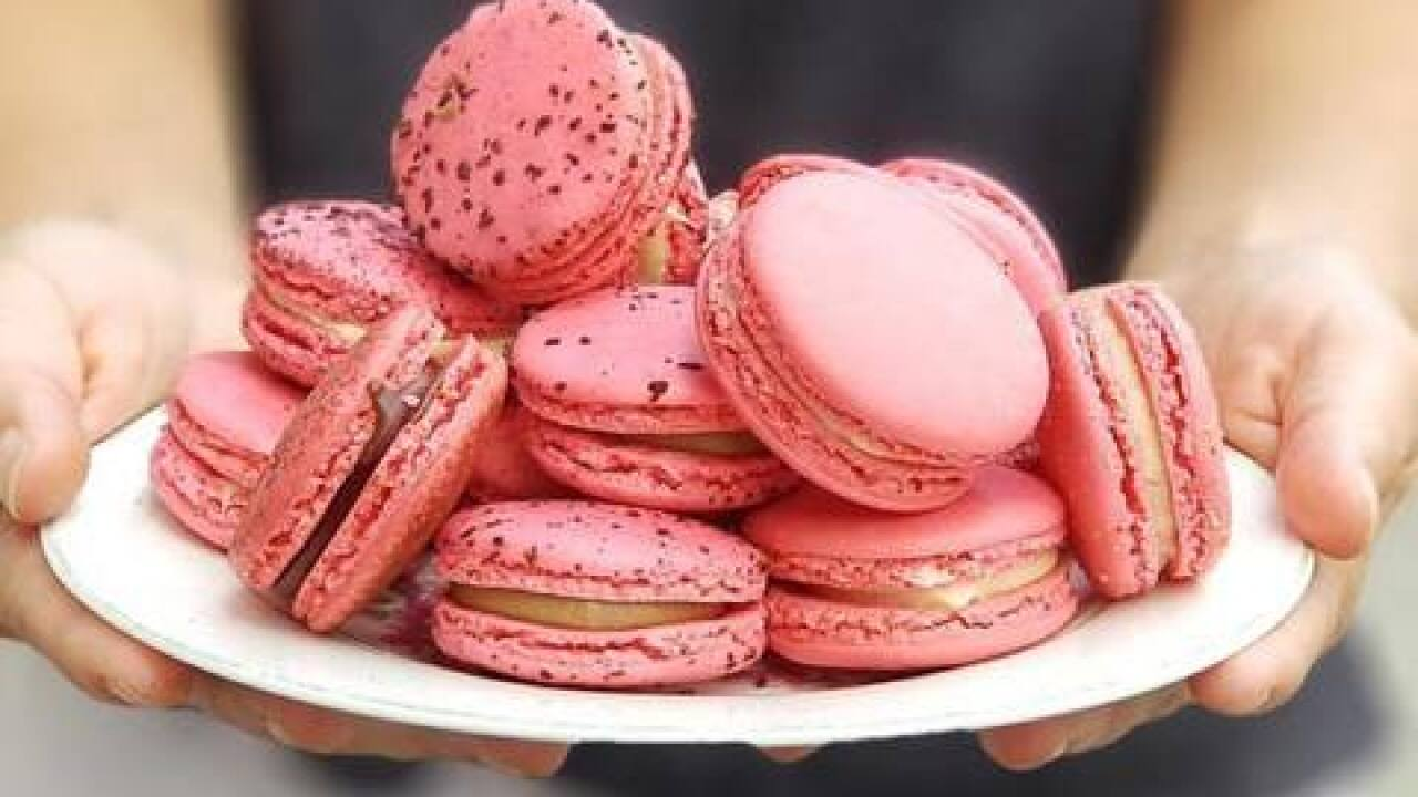 Pink macarons at Whoops! Bakery