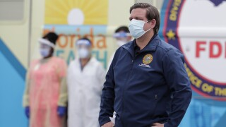 Gov. Ron DeSantis wears mask at Hard Rock Stadium coronavirus testing site
